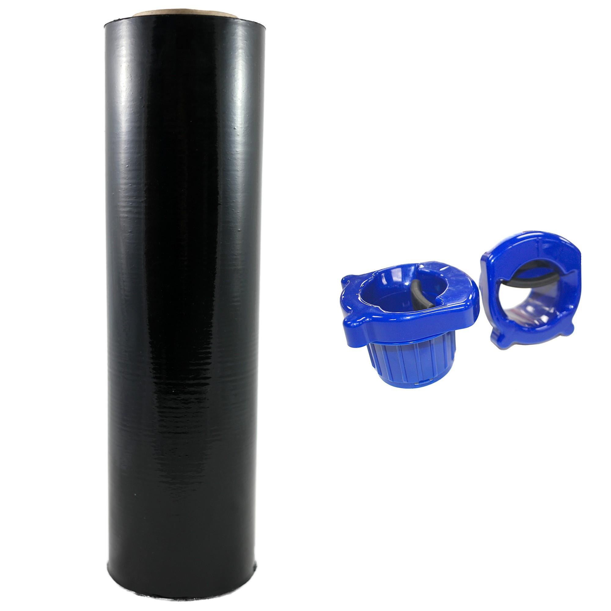 "TOTALPACK® 18"" x 1000' 85 Gauge, 1 Roll. Gauge Blown Stretch Black Film with Regular Duty Dispensers"
