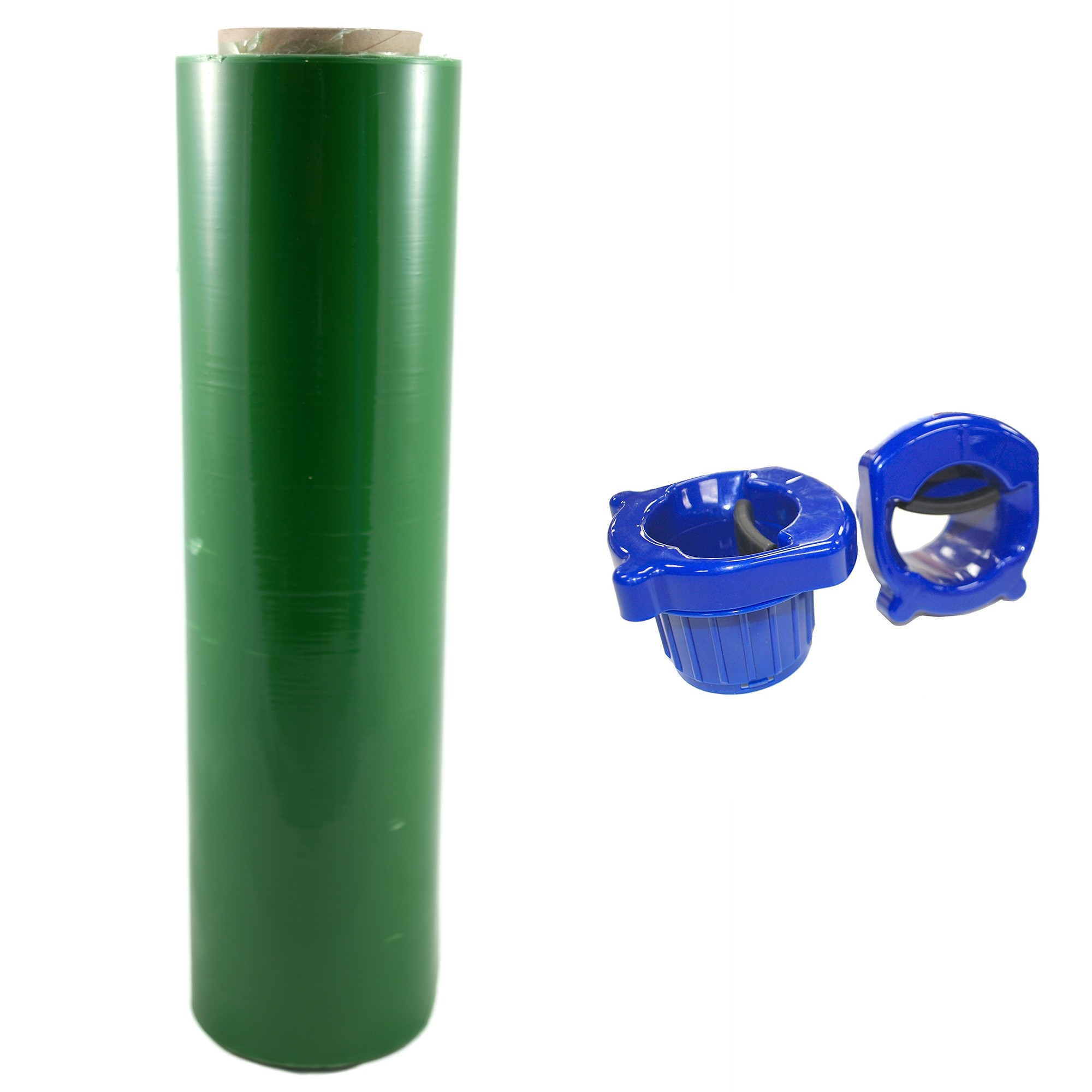 "TOTALPACK® 18"" x 1000' 85 Gauge, 1 Roll. Gauge Blown Stretch Green Film with Regular Duty Dispensers"