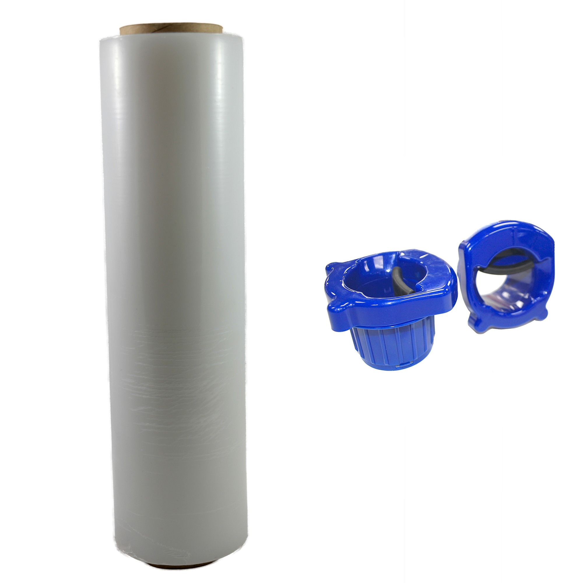 "TOTALPACK® 18"" x 1000' 85 Gauge, 1 Roll. Gauge Blown Stretch White Film with Regular Duty Dispensers"