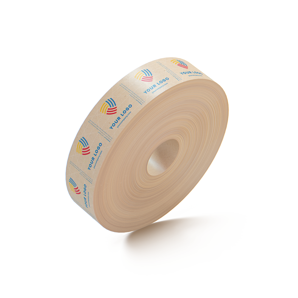 FREE SAMPLE - Custom Kraft Reinforced Printed Tape By TOTALPACK® - 72 mm x 500 ft. 235 Grade for Extra Strength, Water-activated technology, 1 Roll (This Free Product is Not Customizable - It's a random sample)