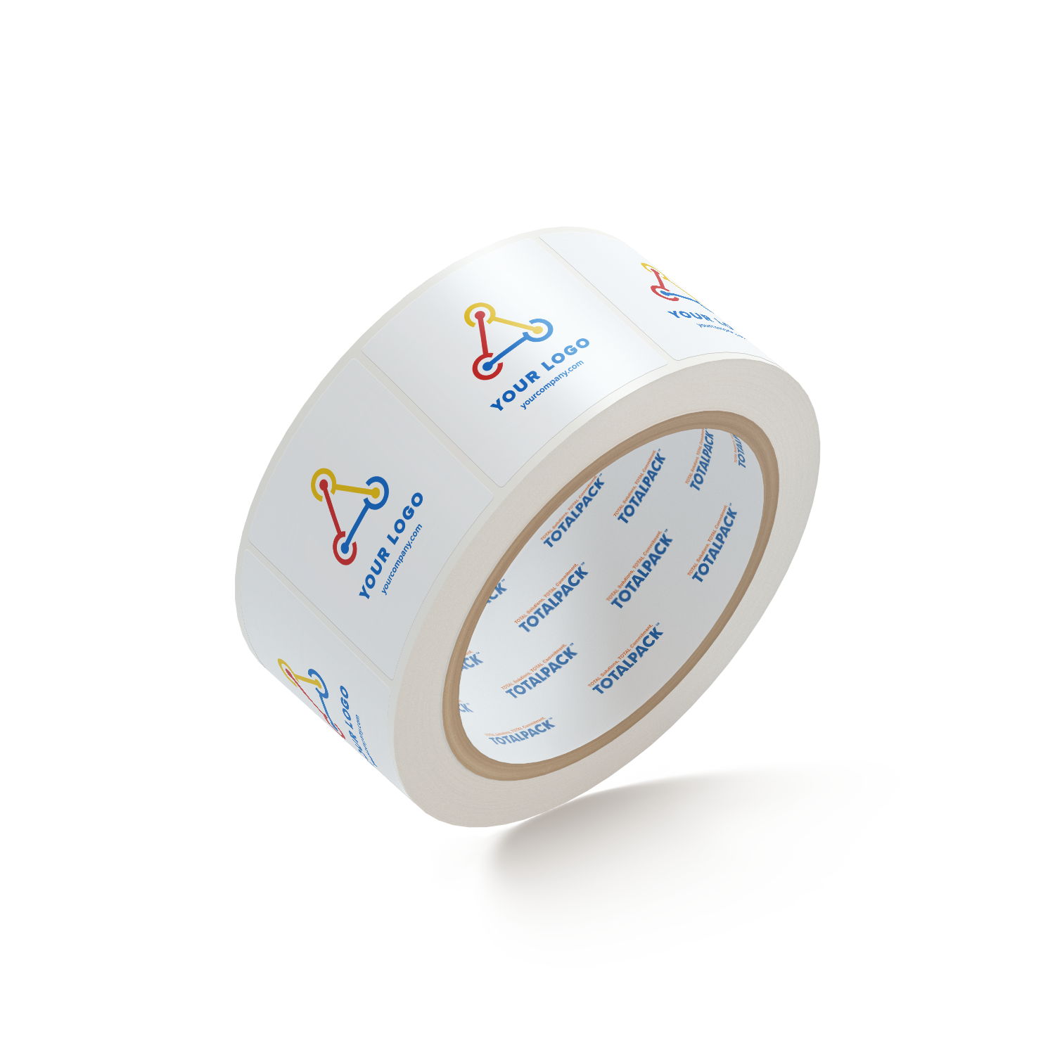 "Custom Square Stickers By TOTALPACK® - 2 x 2"" Round Corners White, 1000 Labels per Roll"