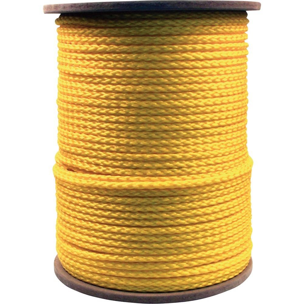 "TOTALPACK® 1/4"", 1200', Yellow Hollow Braided Polypropylene Rope"