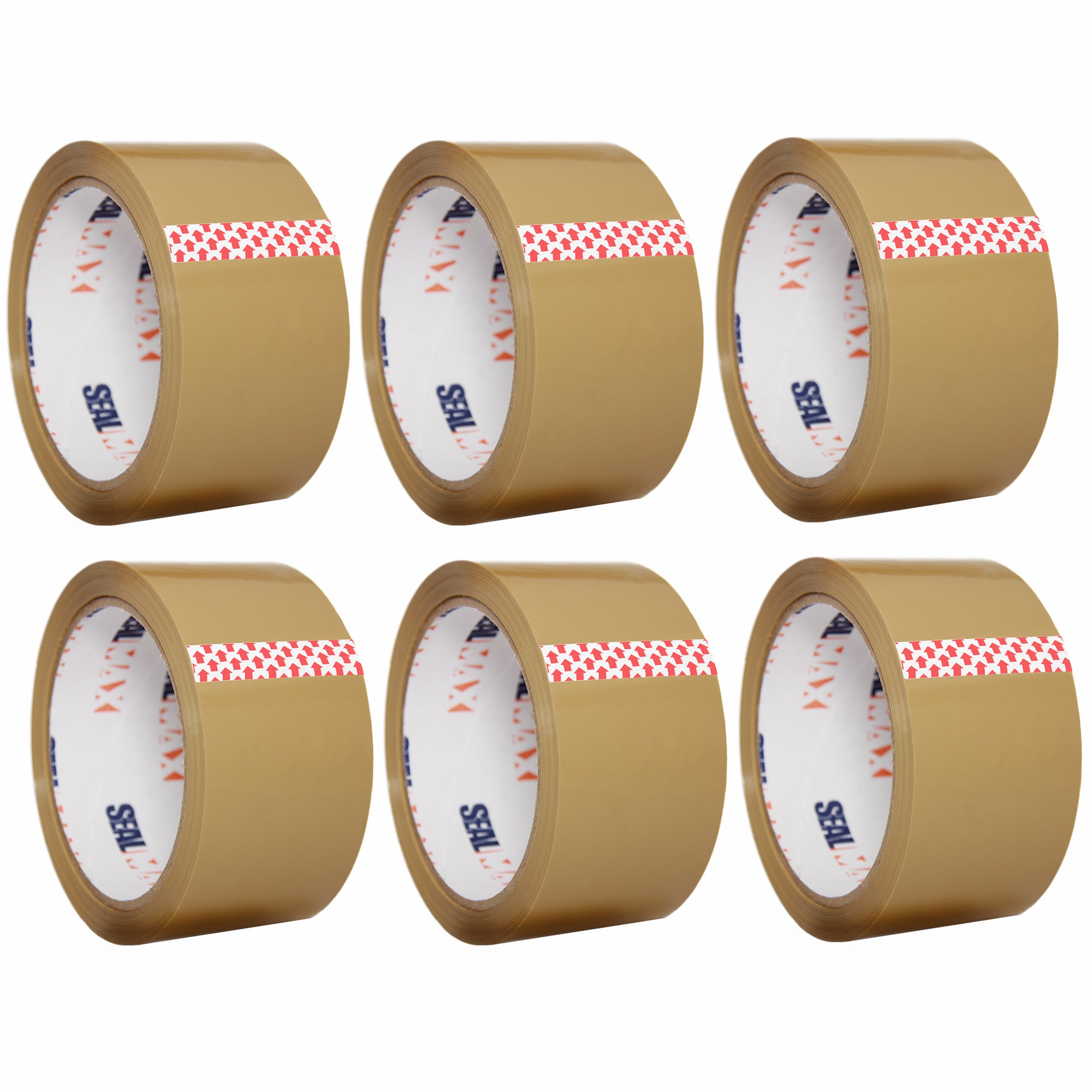 "SealMax By TOTALPACK® Tape Tan 2"" x 55 Yds. 2.1 Mil 6 Rolls Per Case"