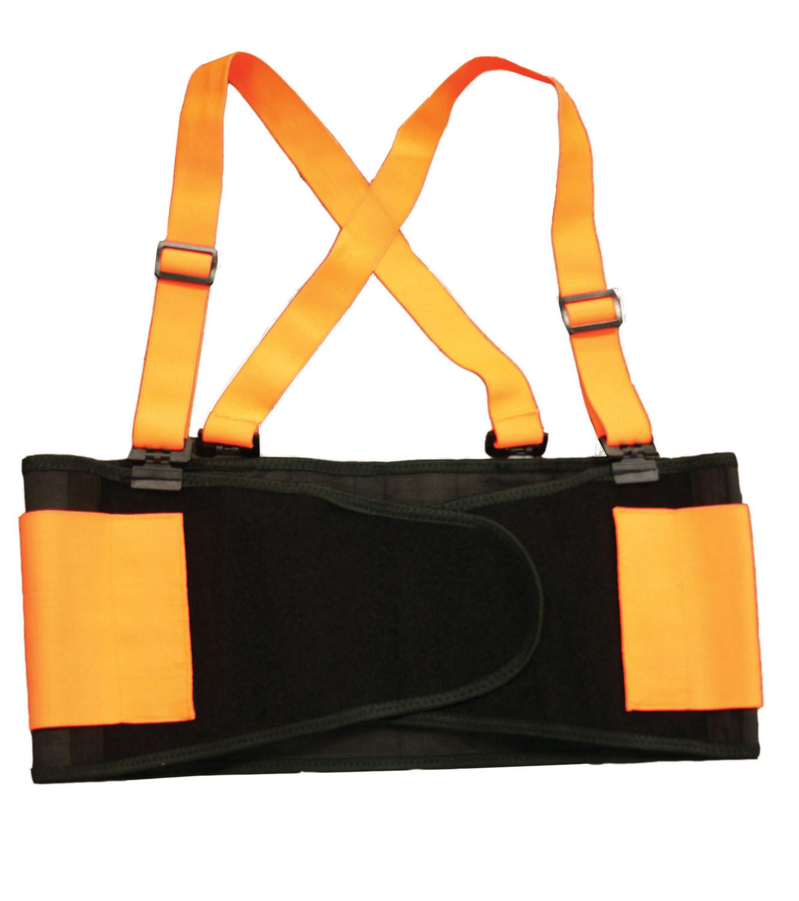 TOTALPACK® Economy Back Support Belt with Suspender - X-Large Orange/Black, 1 Unit