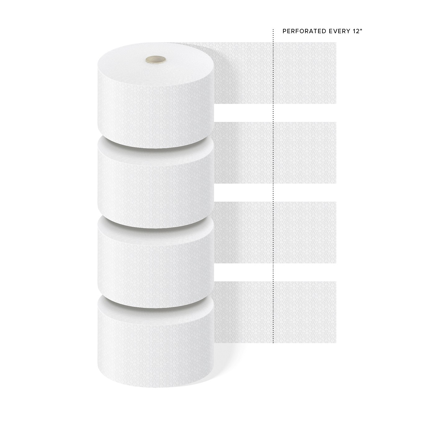 """TOTALPACK® 5/16"""" x 12"""" x 188' Perforated Every 12"""", Air Bubble 4 Rolls"""