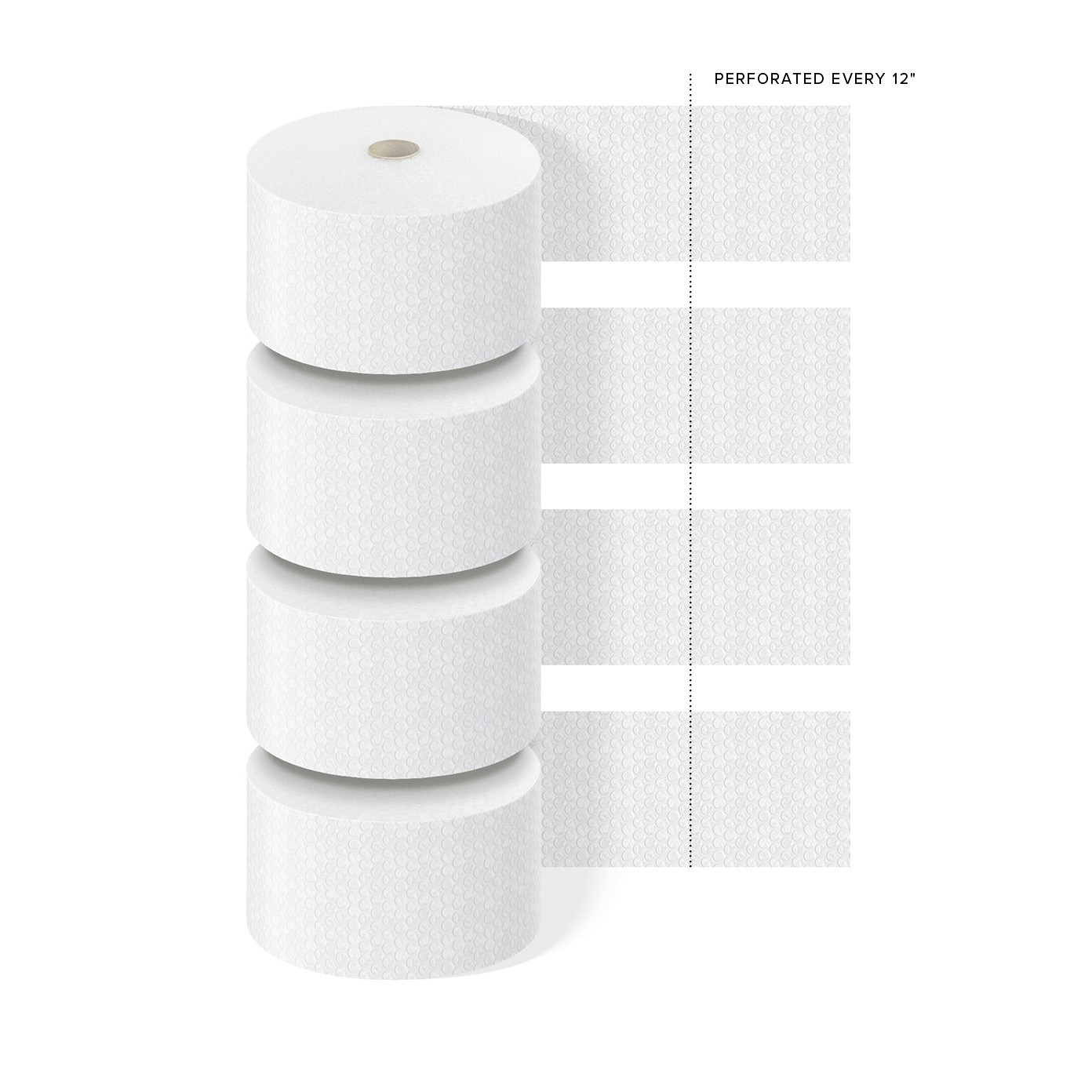 """TOTALPACK® 1/2"""" x 12"""" x 250' Perforated Every 12"""", Air Bubble 4 Rolls"""