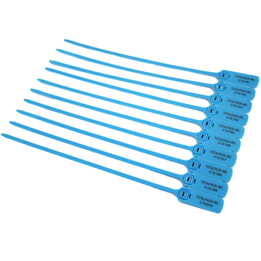 """TOTALPACK® 15"""" Security Ties for Courier Bags Blue 100 Units"""