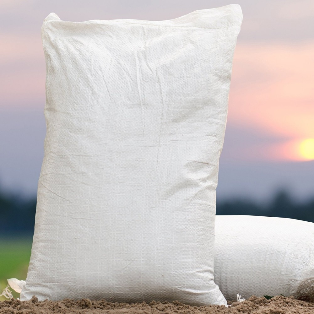 "TOTALPACK® 40 x 50"", Military-Strength Waterproof Tight Weave Polypropylene Sandbags, White, 25 Units"