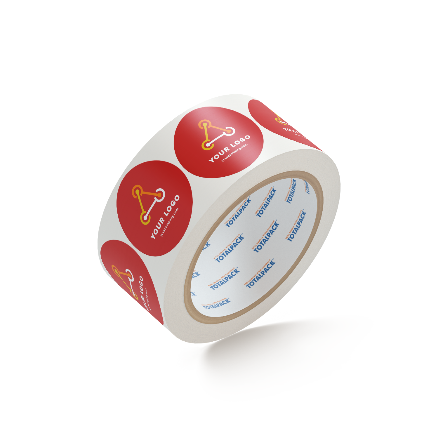 "Custom Circle Stickers By TOTALPACK® - 2"" Red, 1000 Labels per Roll"