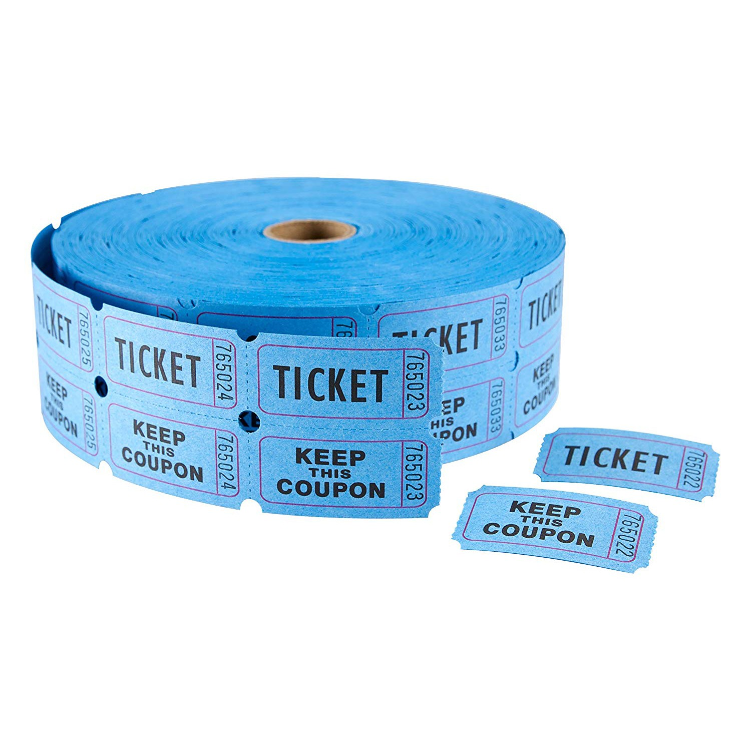 """TOTALPACK® 2 x 1"""" Double Coupon Tickets - """"Keep This Coupon"""", Blue 2000 Tickets per Roll"""