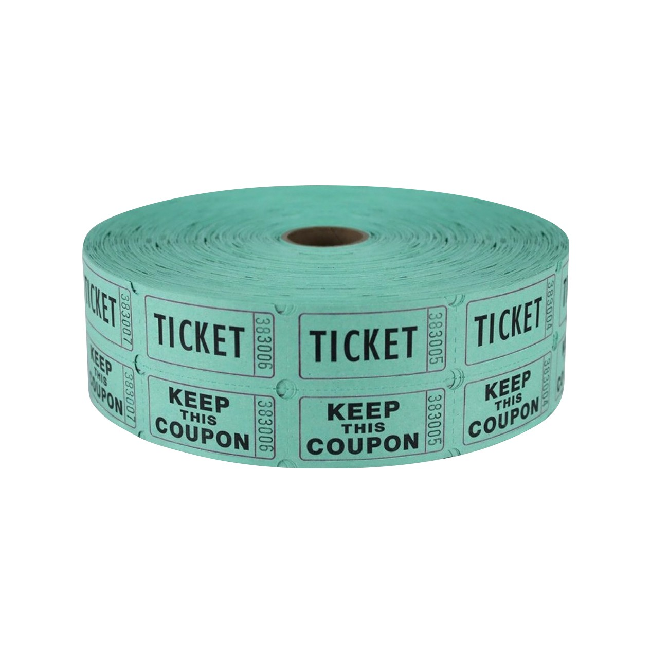 """TOTALPACK® 2 x 1"""" Double Coupon Tickets - """"Keep This Coupon"""", Green 2000 Tickets per Roll"""