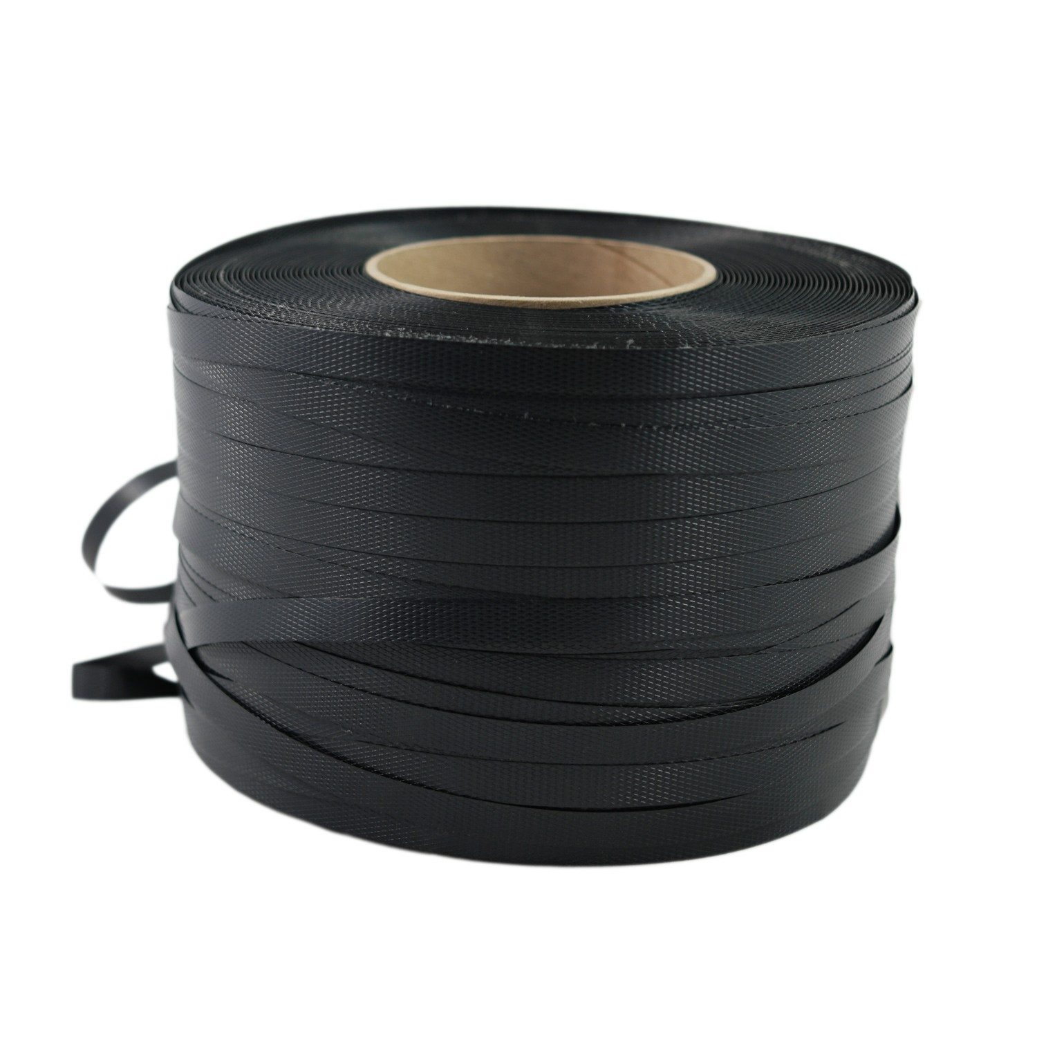 "TOTALPACK® 1/2"" x 0.021"" x 9000' Black 16 x 6"" Hand Grade Polypropylene Strapping - Embossed 1 Unit"