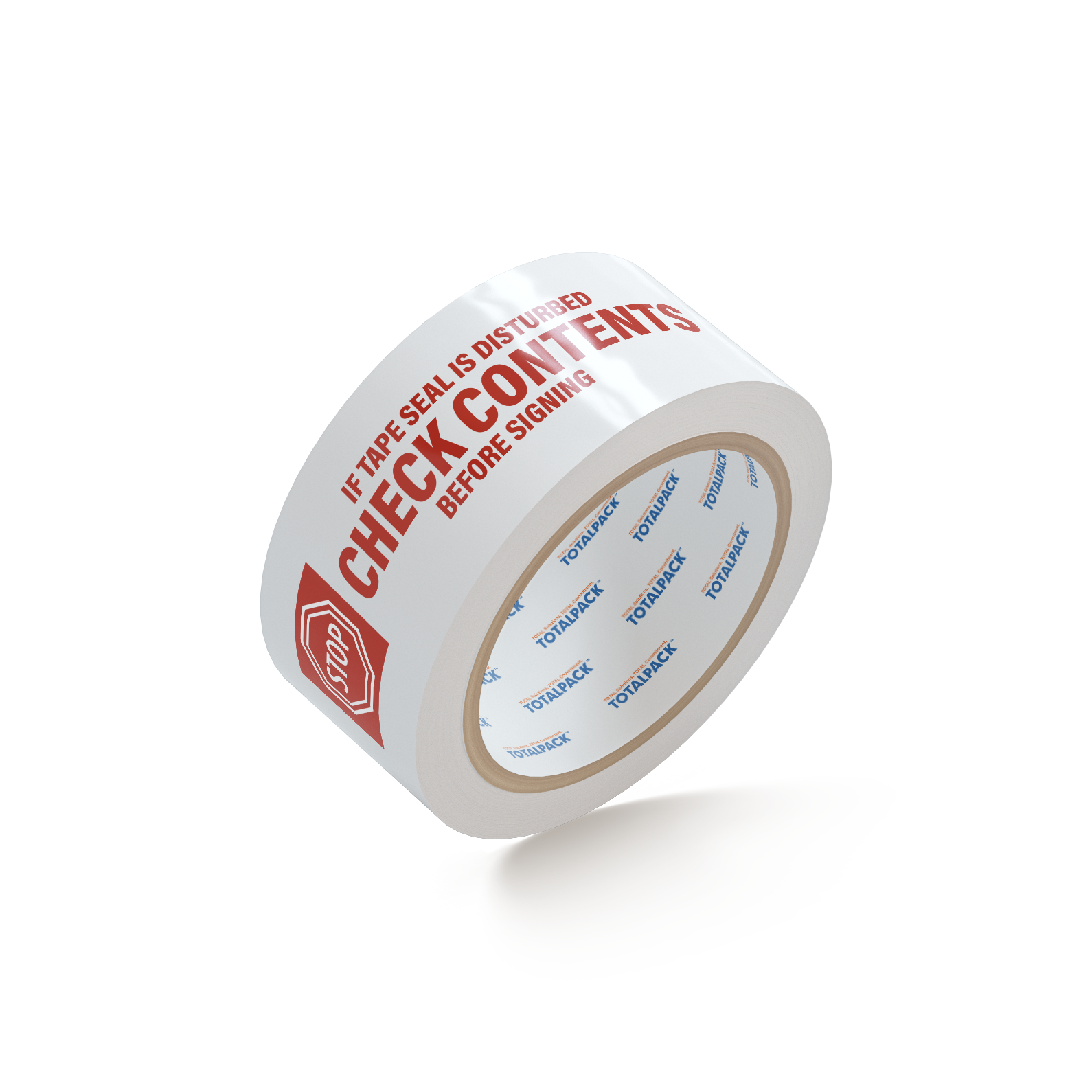 "SealMax By TOTALPACK® Tape Red / White 2"" x 55 Yds. ""STOP CHECK CONTENTS"" 2.1 Mil 36 Rolls"
