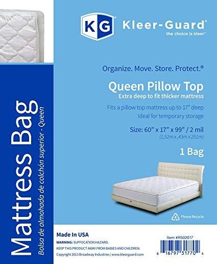 """TOTALPACK® KG Kleer® Guard Mattress Bag 60 x 17 x 99"""", 2 Mil, Queen Mattress, 1 Unit"""