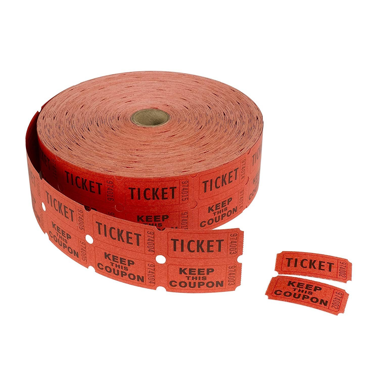 "TOTALPACK® 2 x 1"" Double Coupon Tickets - ""Keep This Coupon"", Red 2000 Tickets per Roll"