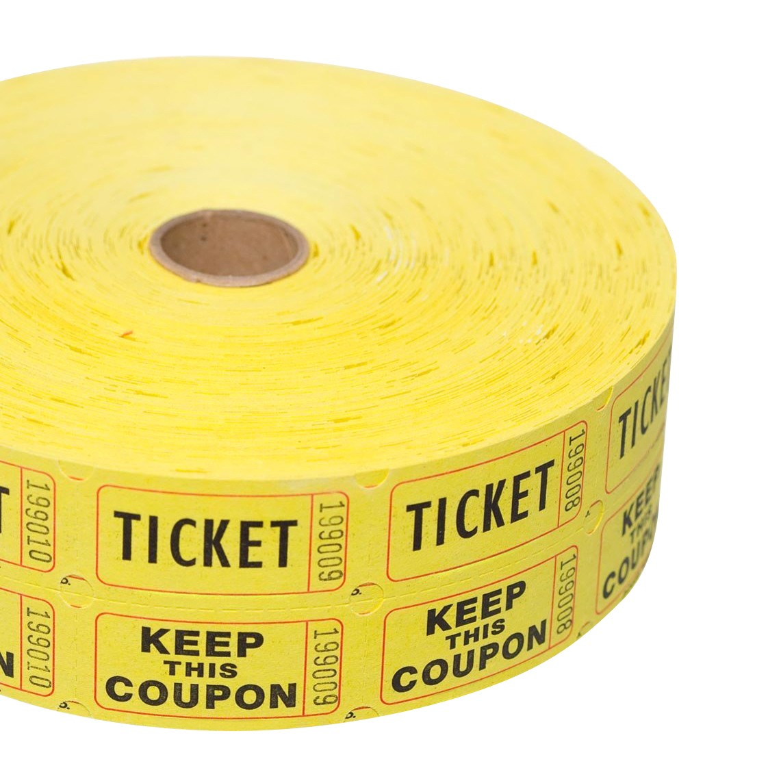 "TOTALPACK® 2 x 1"" Double Coupon Tickets - ""Keep This Coupon"", Yellow 2000 Tickets per Roll"