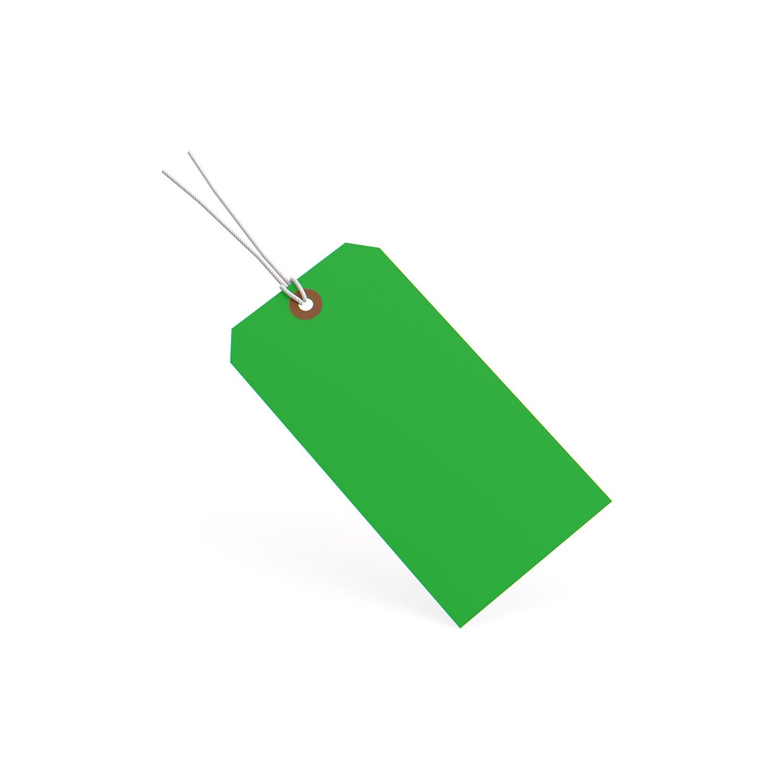 "TOTALPACK® 4 1/4 x 2 1/8"" 13 Pt. Green Manila Shipping Tags - Pre-Strung"