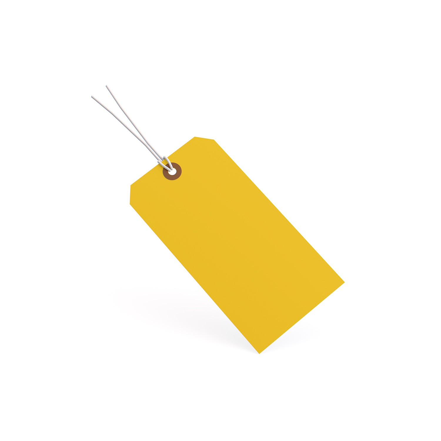"""TOTALPACK® 4 1/4 x 2 1/8"""" 13 Pt. Yellow Manila Shipping Tags - Pre-Strung"""