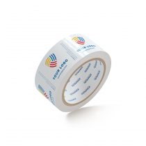 "Custom Packing Tape By TOTALPACK - White 2"" x 55 yds. 2.5 Mil, 36 Rolls Per Case"