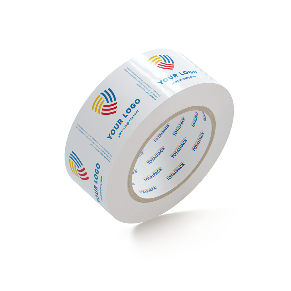 FREE SAMPLE - Custom 2.0 Mil White Surface Printed Tape By TOTALPACK, Hotmelt Polypropylene technology, 1 Roll (This Free Product is Not Customizable - It's a random sample)