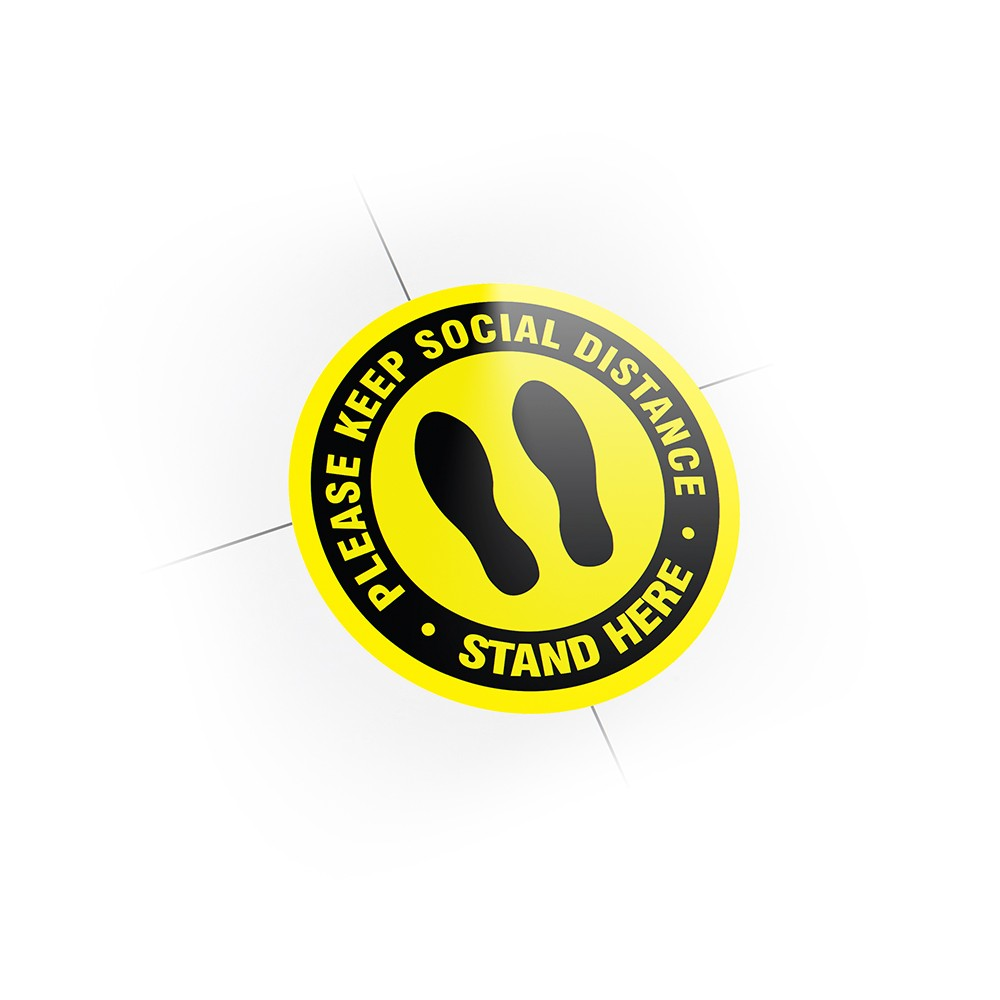 """12"""" Please Keep Social Distance - Stand Here Labels, 10 Units"""