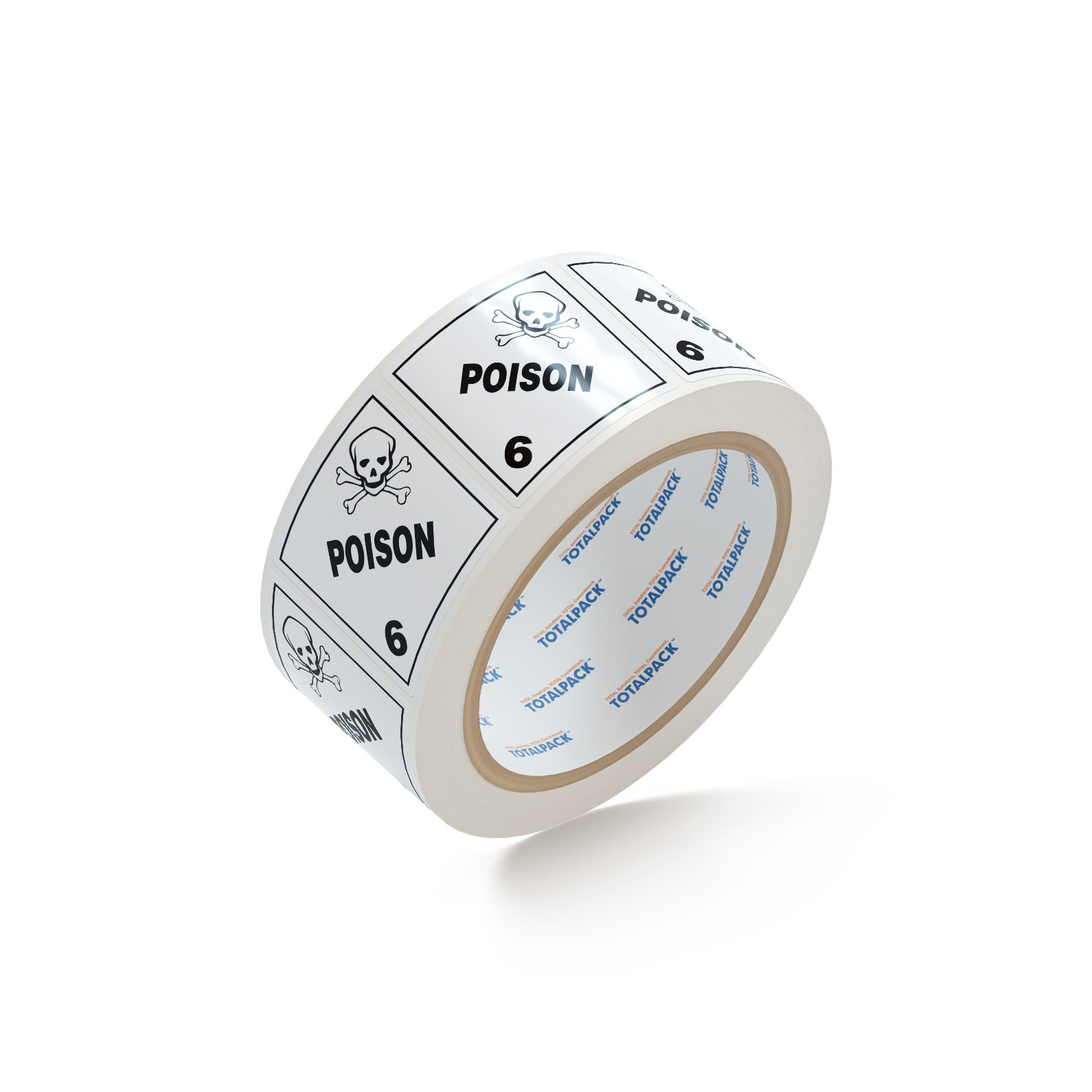 "TOTALPACK® 4 x 4"" - ""Poison"" #6 500 Labels Per Roll"
