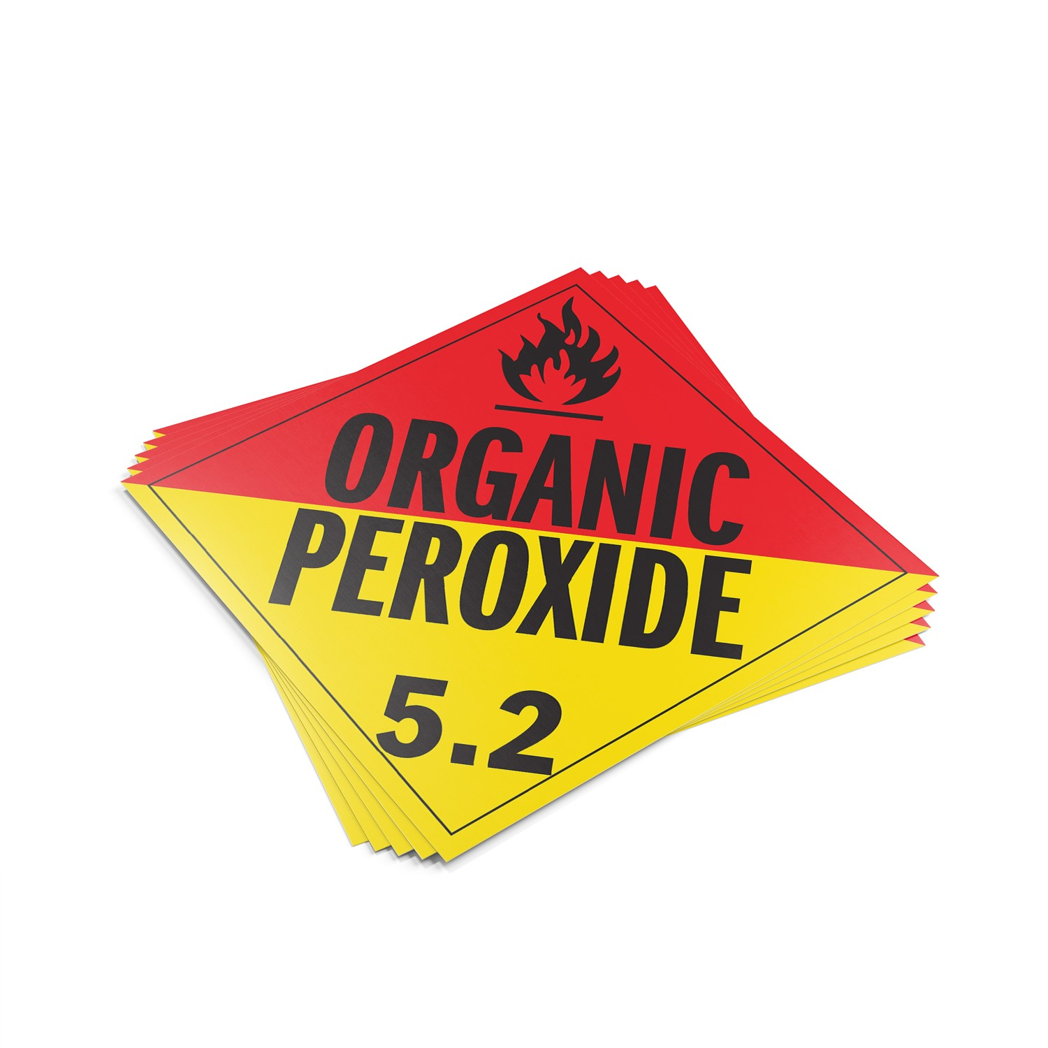 "TOTALPACK® 10 3/4 x 10 3/4"" - Placard ""Organic Peroxide #5.2"" Red Yellow 25 Units"