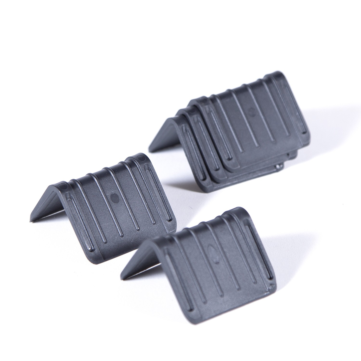 "2 x 2 x 3"" - Black Plastic Strap Guards ""Plastic Corner Protectors"" 1000 Units"